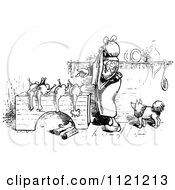 Clipart Of A Retro Vintage Black And White Woman Butchering Chickens 3 Royalty Free Vector Illustration