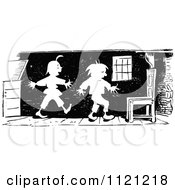 Clipart Of Retro Vintage Black And White Mischievous Boys Sneaking Around Royalty Free Vector Illustration