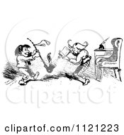 Clipart Of Retro Vintage Black And White Mischievous Boys Putting Powder In A Pipe Royalty Free Vector Illustration