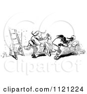 Clipart Of Retro Vintage Black And White Mischievous Boys Stealing Chickens Royalty Free Vector Illustration