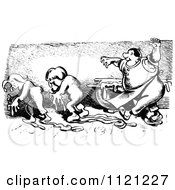 Clipart Of A Retro Vintage Black And White Baker Chasing Out Mischievous Boys Covered In Dough Royalty Free Vector Illustration
