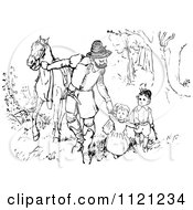 Clipart Of A Retro Vintage Black And White Father Walking His Kids And Horse Through The Woods Royalty Free Vector Illustration