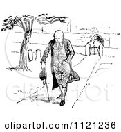 Clipart Of A Retro Vintage Black And White Clergyman Walking Through A Cemetery Royalty Free Vector Illustration