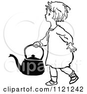 Clipart Of A Retro Vintage Black And White Girl Carrying A Kettle Royalty Free Vector Illustration by Prawny Vintage