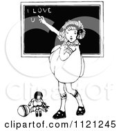 Clipart Of A Retro Vintage Black And White Girl Writing I Love You On A Chalk Board Royalty Free Vector Illustration
