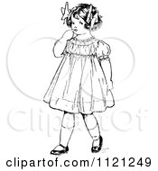 Clipart Of A Retro Vintage Black And White Nervous Girl Royalty Free Vector Illustration