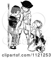 Clipart Of Retro Vintage Black And White Boys And Girl Playing Pirate Games Royalty Free Vector Illustration