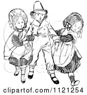 Clipart Of Retro Vintage Black And White Girls Fighting Over A Boy Royalty Free Vector Illustration