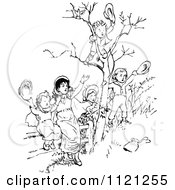 Clipart Of Retro Vintage Black And White Children Waving Goodbye Royalty Free Vector Illustration