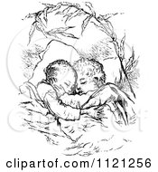 Clipart Of A Retro Vintage Black And White Children Sleeping And Hugging Royalty Free Vector Illustration