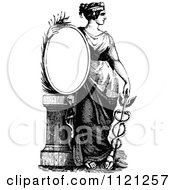 Clipart Of A Retro Vintage Black And White Woman With A Caduceus And Sign Royalty Free Vector Illustration