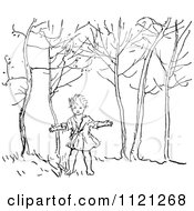 Clipart Of A Retro Vintage Black And White Boy In The Woods Royalty Free Vector Illustration