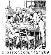 Clipart Of Retro Vintage Black And White School Boys Around A Table Royalty Free Vector Illustration by Prawny Vintage