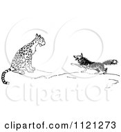 Clipart Of A Retro Vintage Black And White Fox And Leopard Royalty Free Vector Illustration by Prawny Vintage