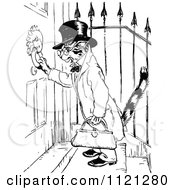Clipart Of A Retro Vintage Black And White Cat Using A Door Knocker Royalty Free Vector Illustration