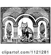 Clipart Of A Retro Vintage Black And White Persian Cat With Plants Royalty Free Vector Illustration