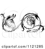 Clipart Of Retro Vintage Black And White Donkey And Man Faces Growing In Thorns Royalty Free Vector Illustration