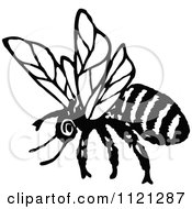 Clipart Of A Retro Vintage Black And White Flying Bee 1 Royalty Free Vector Illustration by Prawny Vintage