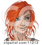 Red Haired Woman Looking To The Right Clipart Illustration
