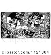 Clipart Of A Retro Vintage Black And White Woman On A Chariot Royalty Free Vector Illustration by Prawny Vintage