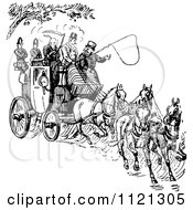 Clipart Of A Retro Vintage Black And White Horse Drawn Carriage And Passengers Royalty Free Vector Illustration by Prawny Vintage