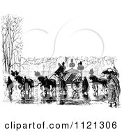 Clipart Of A Retro Vintage Black And White Horse Drawn Carriage And People In A Wet Street With Copyspace Royalty Free Vector Illustration by Prawny Vintage