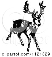 Clipart Of A Retro Vintage Black And White Deer 2 Royalty Free Vector Illustration by Prawny Vintage