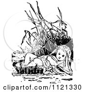 Clipart Of A Retro Vintage Black And White Baby Moses In Reeds Royalty Free Vector Illustration