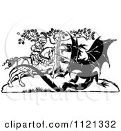 Clipart Of A Retro Vintage Black And White Knight Battling A Dragon Royalty Free Vector Illustration
