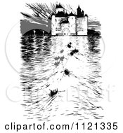 Clipart Of A Retro Vintage Black And White Castle And Boats On The River Royalty Free Vector Illustration by Prawny Vintage