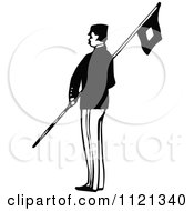 Retro Vintage Black And White Army Soldier With A Flag 2