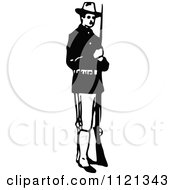 Clipart Of A Retro Vintage Black And White Army Soldier With A Rifle 1 Royalty Free Vector Illustration
