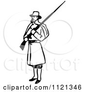 Clipart Of A Retro Vintage Black And White Army Soldier With A Rifle 3 Royalty Free Vector Illustration