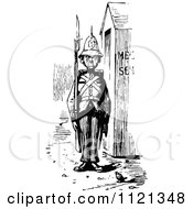 Clipart Of A Retro Vintage Black And White Soldier At Guard Royalty Free Vector Illustration