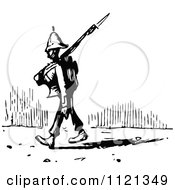 Clipart Of A Retro Vintage Black And White Soldier Pacing Royalty Free Vector Illustration