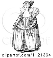 Clipart Of A Retro Vintage Black And White Elizabethan Woman Royalty Free Vector Illustration