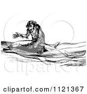 Clipart Of A Retro Vintage Black And White Monkey Riding A Dolphin Royalty Free Vector Illustration by Prawny Vintage