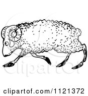 Clipart Of A Retro Vintage Black And White Ram 2 Royalty Free Vector Illustration by Prawny Vintage