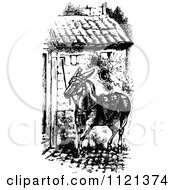 Clipart Of A Retro Vintage Black And White Mule Royalty Free Vector Illustration