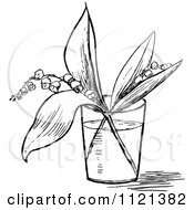 Clipart Of A Retro Vintage Black And White Lily Of The Valley Stems In A Cup Of Water Royalty Free Vector Illustration by Prawny Vintage