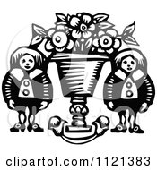 Clipart Of Retro Vintage Black And White People Beside A Flower Pot Royalty Free Vector Illustration