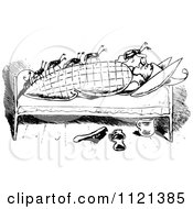 Clipart Of Retro Vintage Black And White Bed Bugs Attacking A Man 1 Royalty Free Vector Illustration