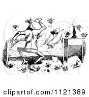 Clipart Of Retro Vintage Black And White Bed Bugs Attacking A Man 5 Royalty Free Vector Illustration