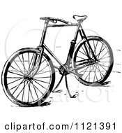 Clipart Of A Retro Vintage Black And White Bicycle With A Stand Royalty Free Vector Illustration by Prawny Vintage