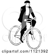 Clipart Of A Retro Vintage Black And White Man Riding A Bicycle 1 Royalty Free Vector Illustration by Prawny Vintage