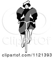 Clipart Of A Retro Vintage Black And White Lady Riding A Bicycle 1 Royalty Free Vector Illustration by Prawny Vintage