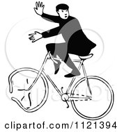 Clipart Of A Retro Vintage Black And White Man On A Broken Bicycle Royalty Free Vector Illustration by Prawny Vintage