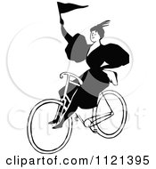 Clipart Of A Retro Vintage Black And White Lady Riding A Bicycle With A Flag Royalty Free Vector Illustration by Prawny Vintage