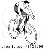 Clipart Of A Retro Vintage Black And White Man Riding A Bicycle 2 Royalty Free Vector Illustration