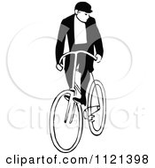 Clipart Of A Retro Vintage Black And White Man Riding A Bicycle 3 Royalty Free Vector Illustration by Prawny Vintage